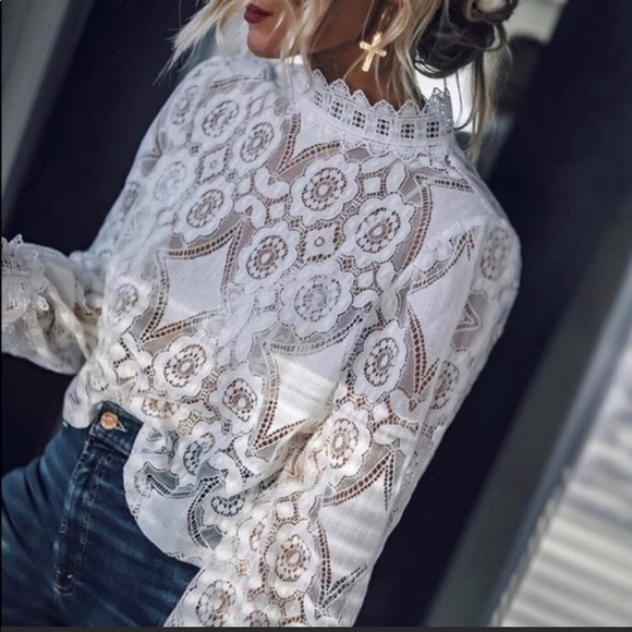 Figleaffashion Tops - Lace Mock Neck Blouse